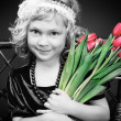 Girl with tulips - Photo