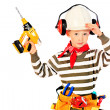 Boy with drill — Stock Photo