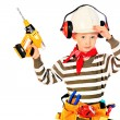 Boy with drill - Stock Photo