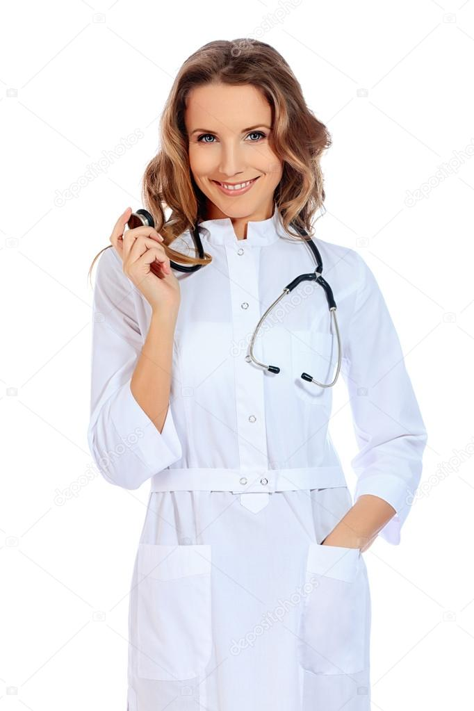 Portrait of a friendly woman doctor. Isolated over white background. — Stock Photo #19545605