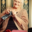 Grandmas knitting — Stock Photo