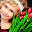 Tulips girl — Stock Photo #22530043