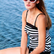Striped swimsuit - Stock Photo