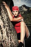 Climber woman — Stock Photo