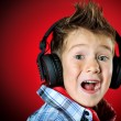 Boy in headphones — 图库照片