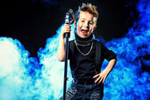 Cool boy singing — Stock Photo