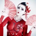 Red kimono — Stock Photo
