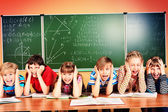Tired schoolchildren — Stock Photo