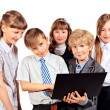 Kids with laptop — Stock fotografie