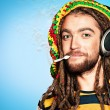 Smoking rasta — Stock Photo