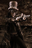 Shooting steampunk — Stock Photo