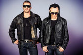 Men in leather jackets — Stock Photo