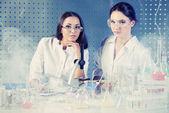 Smoke in laboratory — Stock Photo