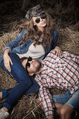 Lying on haystack — Stock Photo