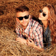 Stock Photo: Lying in haystack