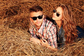 Lying in haystack — Stock Photo