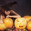 Pumkins and witch — Stock Photo #34824187