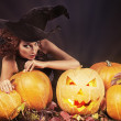 Stock Photo: Pumkins and witch