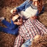 Haystack romance — Stock Photo