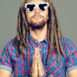 Meditating hippie — Stock Photo