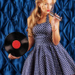 Stock Photo: Pin-up singer