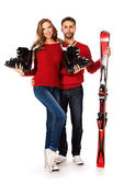 Winter skiing — Stock Photo