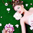 Surrounded by flowers — Stock Photo
