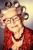Bright old woman — Stock Photo