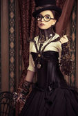Steampunk in glasses — Stock Photo