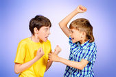 Quarreled boys — Stock Photo