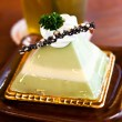 Matcha green tea cake in tea time — Stock Photo