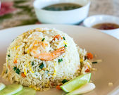 Unique style Thai shrimp fried rice serves on the dish — Stock Photo