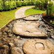 Landscape garden design. The path in the garden with pond in asi — Stock Photo #42698649