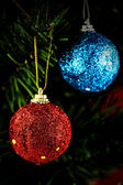 Christmas background with baubles and christmas tree  — Foto Stock