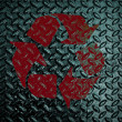 Red Recycle sign on Grunge diamond metal plate used background — Stock Photo #42711233