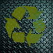 Yellow Recycle sign on Grunge diamond metal plate used backgrou — Stock Photo #42711785