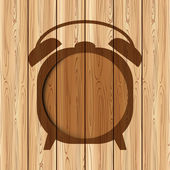 Abstract clock frame on wood background can used for template — Stock Vector