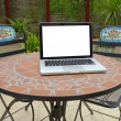 Summer terrace on the table laptop — Stock Photo
