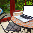 Stock Photo: Summer terrace on the table laptop