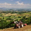 A tractor in the Massif Central — Stock Photo