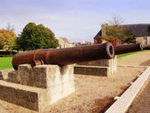 Cannons on the old battlements at caen Normandy — Stock Photo