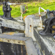 Stock Photo: Lock gate on canal on inland waterways network