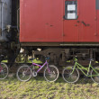 Bicycles near train — Stock Photo