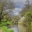 A canal on the inland waterways network of navigable canals and waterways in the english and british countryside in the uk, united kingdom, great britain, europe — Stock Photo #27581257