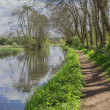 Stock Photo: A canal on the inland waterways network of navigable canals and waterways in the english and british countryside in the uk, united kingdom, great britain, europe
