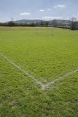 Corner of football playing fields — Stock Photo