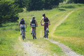 Cyclists cycling along south downs way — Stock Photo