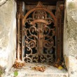 Vintage wrought iron window - Stock Photo
