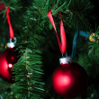 Red glass balls for Christmas tree decorations — Stock Photo