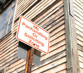 No panhandling or soliciting zone sign — Stock Photo